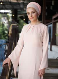 Salmon - Fully Lined - Crew neck - Muslim Evening Dress