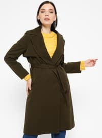 Khaki - Fully Lined - Shawl Collar - Trench Coat