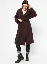 Plum - Unlined - Shawl Collar - Trench Coat