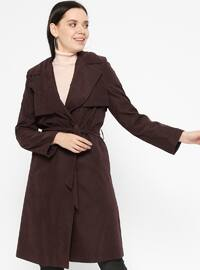 Plum - Fully Lined - Shawl Collar - Trench Coat