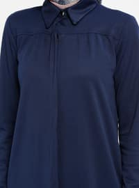 Navy Blue - Point Collar - Unlined - Dresses