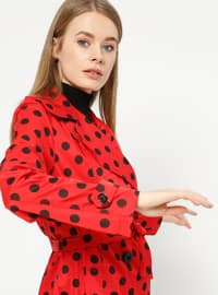 Red - Polka Dot - Unlined - Shawl Collar - Trench Coat