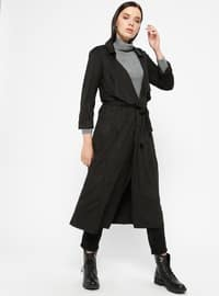 Black - Unlined - Shawl Collar - Trench Coat