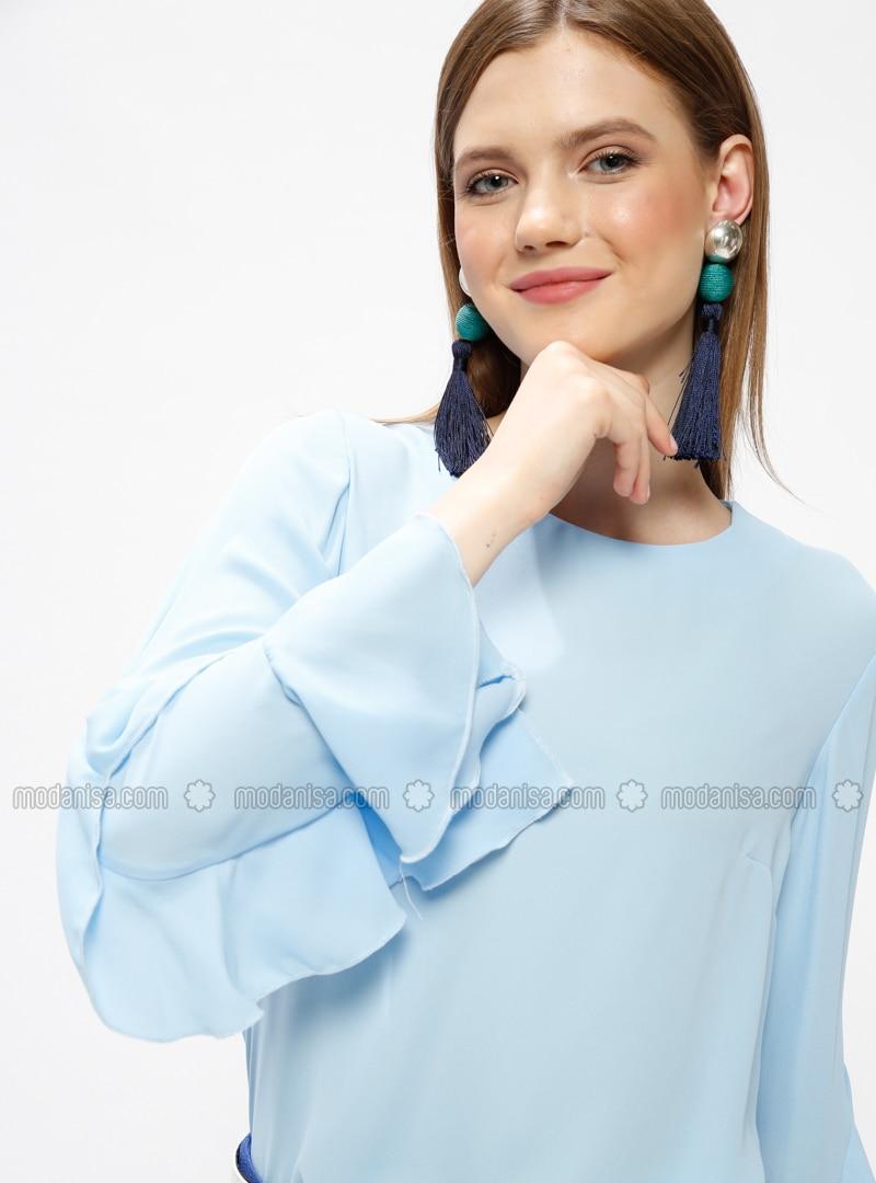Blue - Crew neck - Blouses