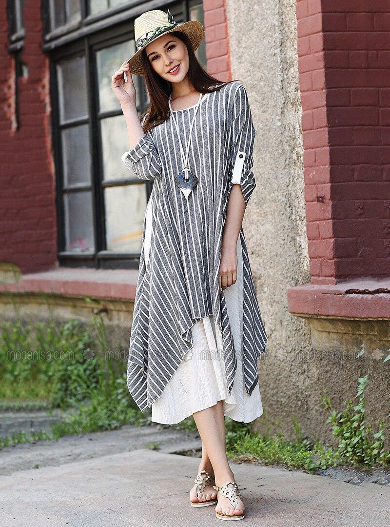 Black - Stripe - Crew neck - Cotton - Dresses - Tommy Life