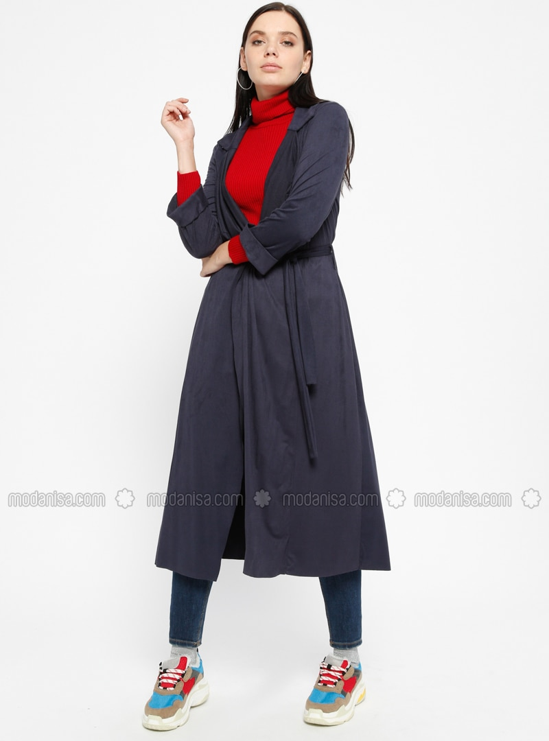 Navy Blue - Unlined - Shawl Collar - Trench Coat