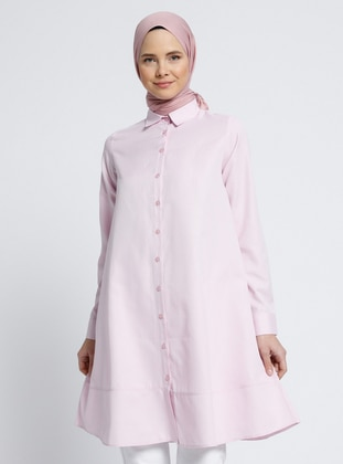 Pink - Point Collar - Blouses - Everyday Basic