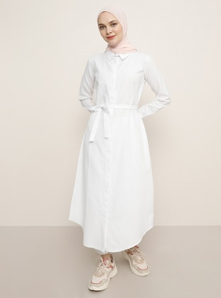 White - Ecru - Point Collar - Cotton - Tunic