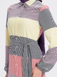 Yellow - Gray - Powder - Stripe - Point Collar - Viscose - Tunic