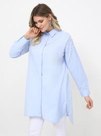 Blue - Point Collar - Cotton - Plus Size Tunic
