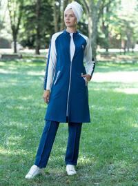 Blue - White - Navy Blue - Ecru - Indigo - Polo neck - Tracksuit Set