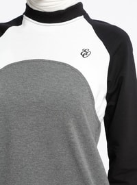 White - Ecru - Anthracite - Crew neck - Tracksuit Top