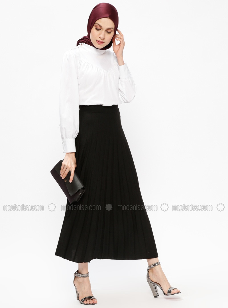 Black   Unlined   Skirt   Tavin by Modanisa