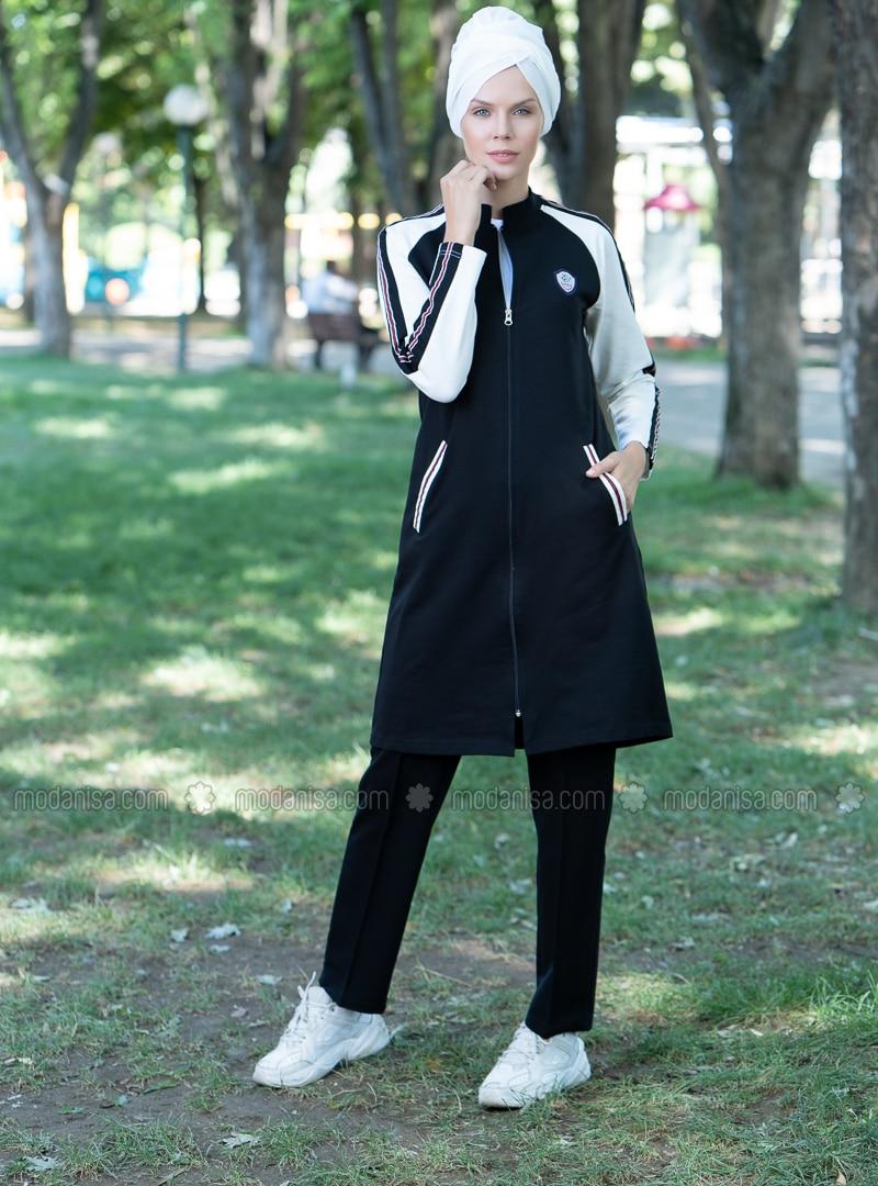 Black - White - Polo neck - Tracksuit Set