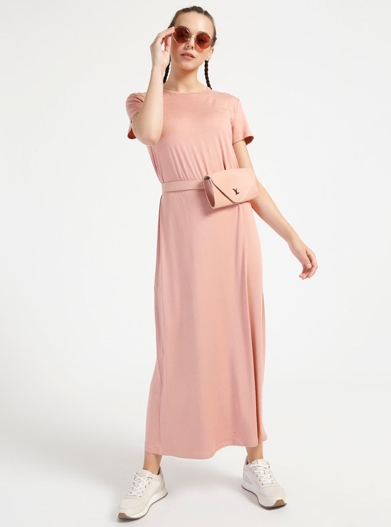 ad483ab09246f Everyday Basic Pastel Pembe Doğal Kumaştan Kısa Kollu Elbise | ElbiseBul