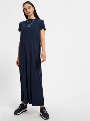 117b6b1a32abc 2 135 cm Doğal Kumaştan Kısa Kollu Elbise - Lacivert Everyday Basic