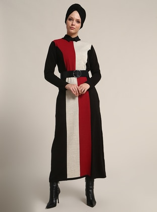 Red - Black - Crew neck - Unlined - Dresses