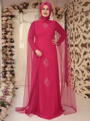 Fuchsia - Fully Lined - Crew neck - Muslim Plus Size Evening Dress