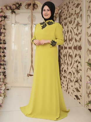 Green - Yellow - Fully Lined - Crew neck - Muslim Plus Size Evening Dress