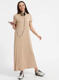 Camel - Crew neck - Unlined - Dresses