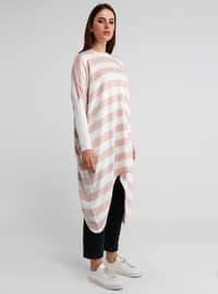 Ecru - Powder - Stripe - Crew neck - Tunic