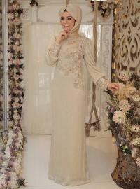 Taşlı Abiye Elbise - Gold - Zehrace