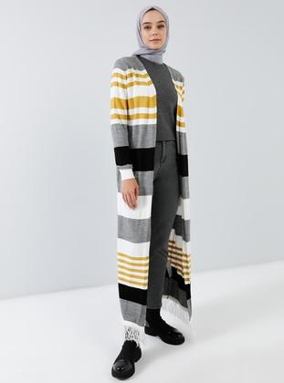Black - Gray - Mustard - Stripe - Cardigan