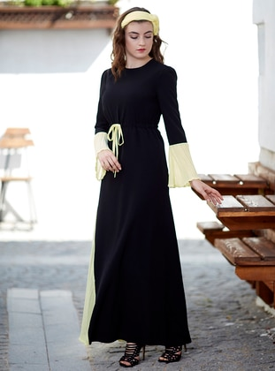 Yellow - Crew neck - Fully Lined - Dresses