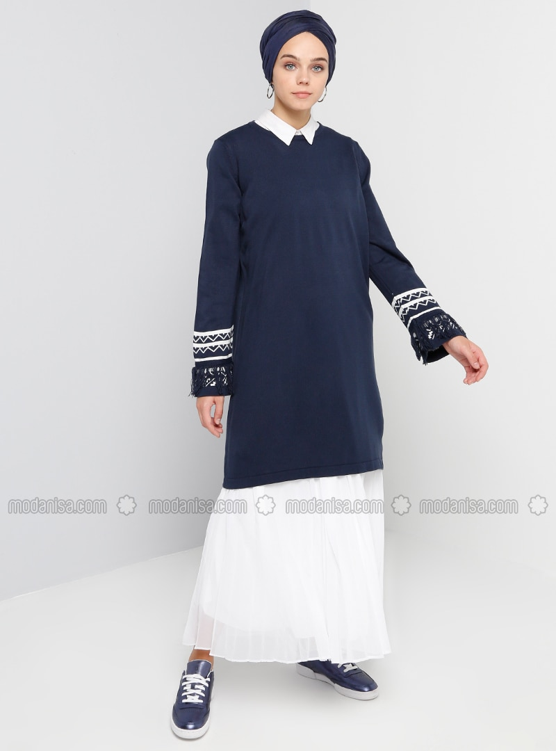 Navy Blue - Crew neck - Cotton - Acrylic - Tunic