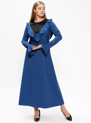 Blue - Fully Lined - Crew neck - Plus Size Dress