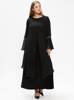 Black – Unlined – Crew Neck – Plus Size Dress – Melisita
