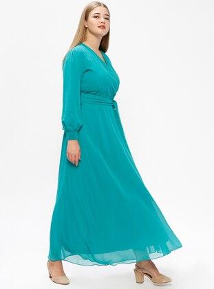 Green – Fully Lined – V Neck Collar – Plus Size Dress – Melisita