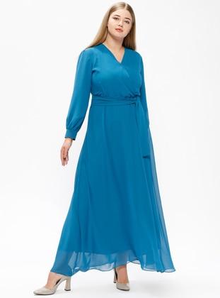 Indigo – Fully Lined – V Neck Collar – Plus Size Dress – Melisita