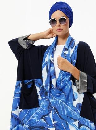 Blue - Multi - Unlined - V neck Collar - Topcoat