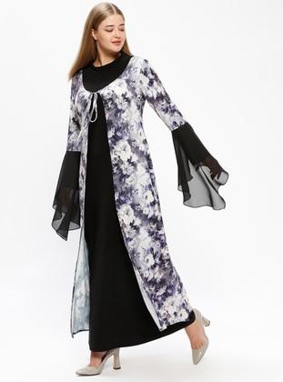 Gray – Multi – Unlined – Polo Neck – Plus Size Dress – Melisita