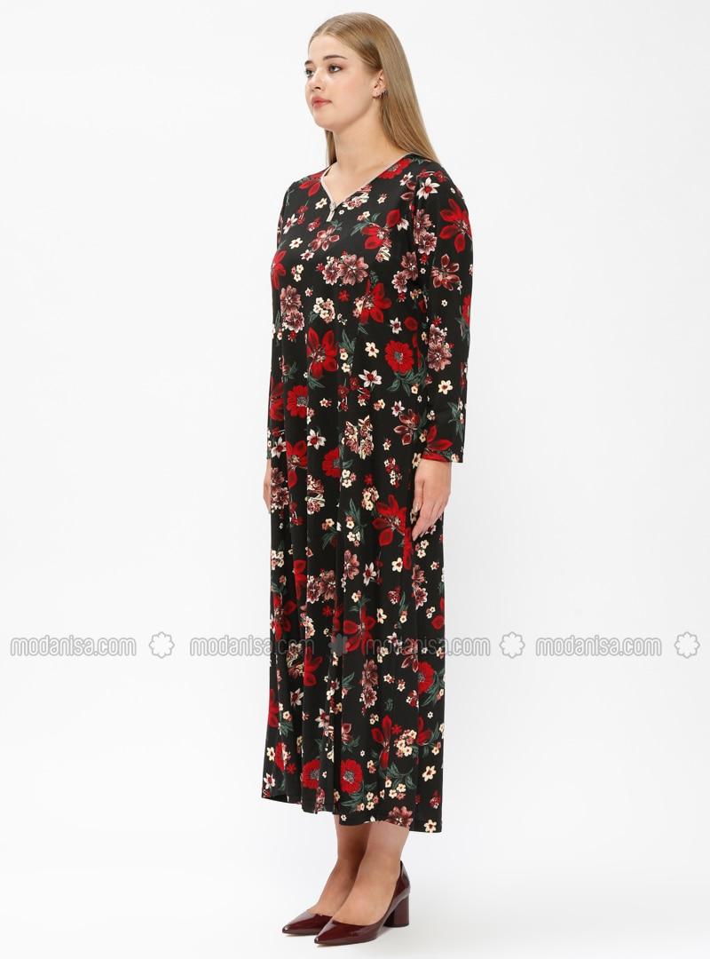 Red - Black - Floral - Unlined - V neck Collar - Plus Size Dress