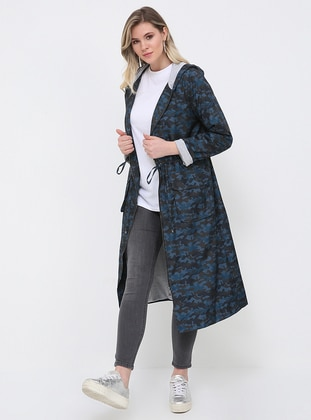 Navy Blue - Indigo - Multi - Fully Lined - Plus Size Coat