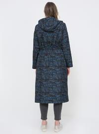 Navy Blue - Indigo - Multi - Fully Lined - Plus Size Coat