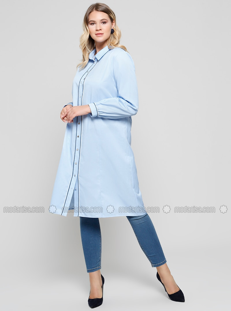 Baby Blue - Point Collar - Plus Size Tunic