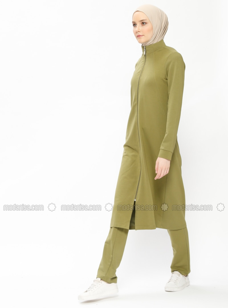 Green - Polo neck - Tracksuit Set