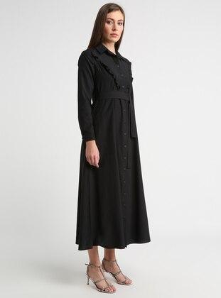 01b073833 أسود - قبة بارزة - نسيج غير مبطن - فستان