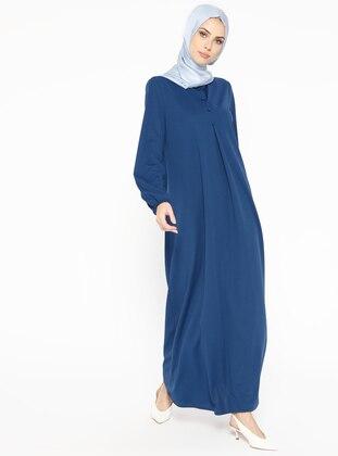 Düğme Detaylı Elbise - İndigo - Miss Paye Ürün Resmi