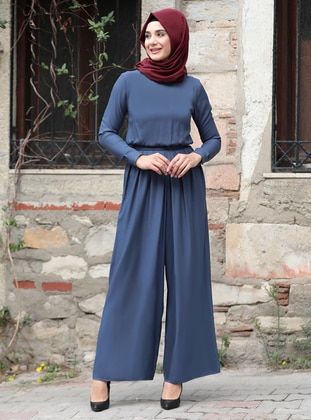 Blue - Unlined - Crew neck - Jumpsuit - Rana Zenn