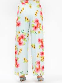 Blue - Fuchsia - Floral - Pants