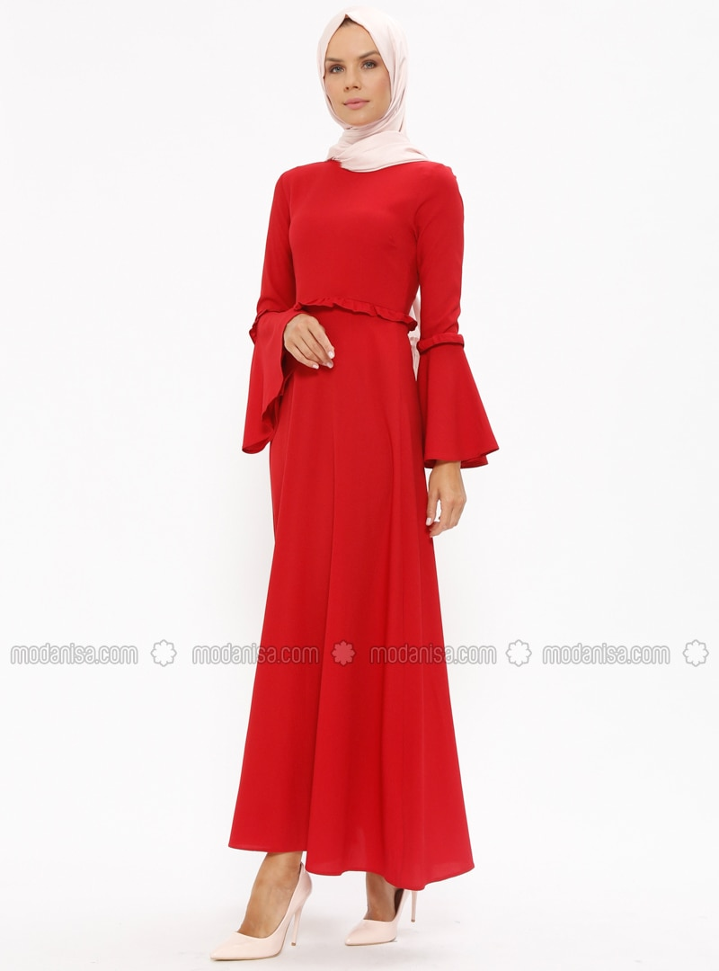 Red   Crew Neck   Unlined   Dresses   Miss Paye by Modanisa