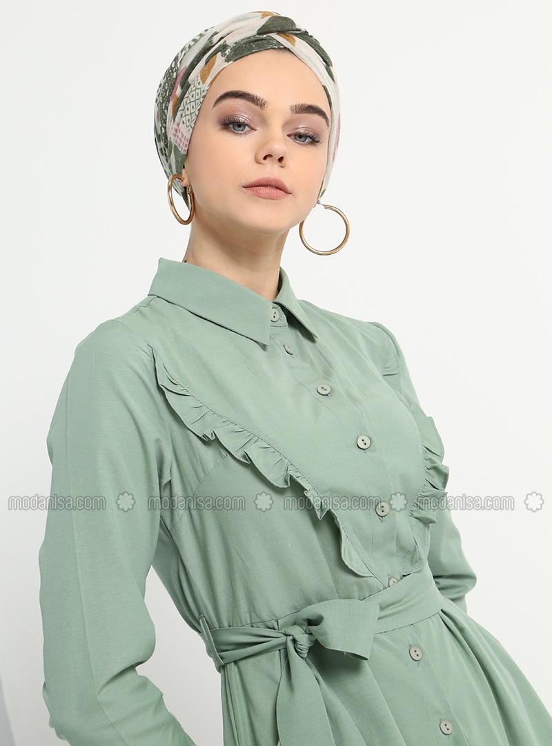 af4ae3f0d303c Cepli Boydan Düğmeli Elbise - Zeytin Yeşili
