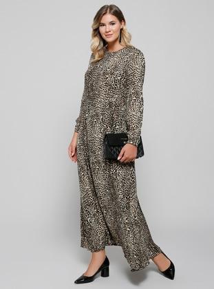 Doğal Kumaşlı Leopar Desenli Elbise - Kahve - Alia Ürün Resmi