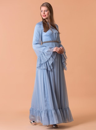 Blue - Fully Lined - Crew neck - Muslim Evening Dress