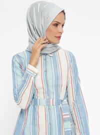 Maroon - Stripe - Point Collar - Cotton - Tunic