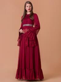 Şifon Abiye Elbise - Kırmızı - JAQAR